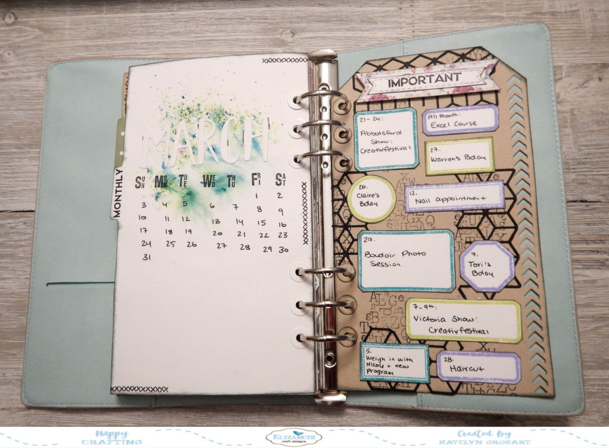 Creating Pages For Your Monthly Calendar And Important Dates